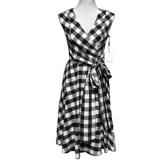 a6d9a56caa009 NWT Calvin Klein Buffalo Check Gingham Midi Dress
